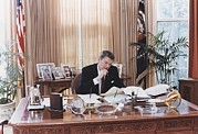 Candid Family Portraits Posters - President Reagan Working At His Oval Poster by Everett