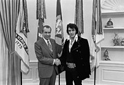 Oval Office Framed Prints - President Richard Nixon And Elvis Framed Print by Everett