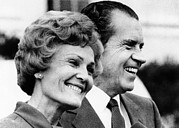 First Lady Metal Prints - President Richard Nixon And First Lady Metal Print by Everett