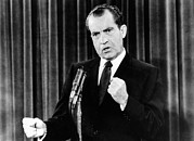 Gestures Metal Prints - President Richard Nixon During A News Metal Print by Everett