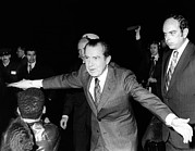 Gestures Photo Framed Prints - President Richard Nixon Extends Himself Framed Print by Everett