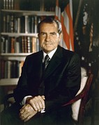 Library Framed Prints - President Richard Nixon In An Official Framed Print by Everett