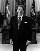 Ronald Reagan Photo Posters - President Ronald Reagan In The Oval Office Poster by War Is Hell Store