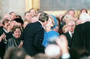 Ronald Reagan Prints - President Ronald Reagan Kisses Mrs Print by Everett