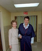 Nancy Posters - President Ronald Reagan With Wife Nancy Poster by Everett