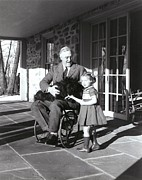 Paralyzed Framed Prints - President Roosevelt In His Wheelchair Framed Print by Everett