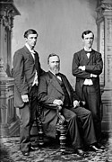 1880s Framed Prints - President Rutherford B. Hayes And Two Framed Print by Everett