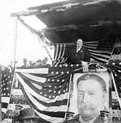 U S Presidents Framed Prints - President Taft giving a speech in Augusta - Georgia c 1910 Framed Print by International  Images