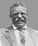America Digital Art Metal Prints - President Teddy Roosevelt Metal Print by War Is Hell Store