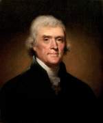 Portraits Glass Posters - President Thomas Jefferson  Poster by War Is Hell Store