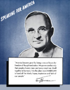 Us History Digital Art Posters - President Truman Speaking For America Poster by War Is Hell Store