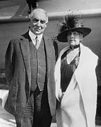 Harding Framed Prints - President Warren Harding And His Wife Framed Print by Everett