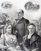 Us Presidents Framed Prints - President William McKinley and family Framed Print by International  Images