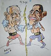 Barrack Obama Pyrography Posters - Presidential fight of Obama And Maccain Poster by Archit Singh