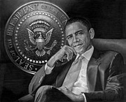 Obama Portrait Mixed Media Posters - Presidential Seal Poster by Raoul Alburg