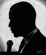 Barack Drawings - Presidential Silhouette by Jeff Stroman