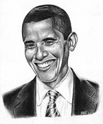 Barack Obama Drawings Prints - Presidential Smile Print by Jeff Stroman