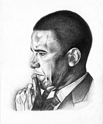 Barack Obama Drawings Metal Prints - Presidential Thoughts Metal Print by Jeff Stroman