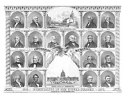 Us Presidents Drawings Framed Prints - Presidents Of The United States 1776-1876 Framed Print by War Is Hell Store