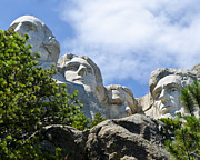 Abraham Lincoln Prints - Presidents on Mt Rushmore Print by Jon Berghoff