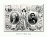 States Drawings Prints - Presidents Washington and Lincoln Print by War Is Hell Store