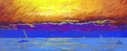 Seascape Pastels Posters - Presque Isle Bay Poster by Michael Camp