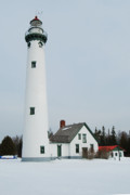 Christmas Scene Prints - Presque Isle Lighthouse Print by Michael Peychich