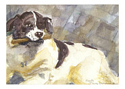 Dog With Stick Prints - Presto number six Print by Nancy Brennand