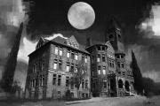 Spooky  Digital Art Originals - Preston Castle by Holly Ethan