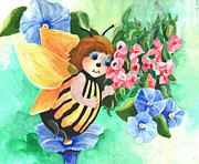 Bee Drawings - Pretty Bee by Linda  Lindall