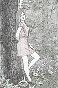 Feminine Drawings Originals - Pretty Flower In The Woods by Tom Johnson