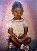 Keenya Woods Mixed Media Originals - Pretty Girl in purple  by Keenya  Woods