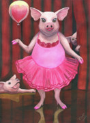 Pig Framed Prints - Pretty in Pink Framed Print by Catherine G McElroy