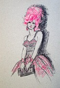 Fashion Illustration Pastels Posters - Pretty in Pink Hair Poster by Sue Halstenberg