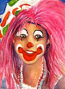 Female Clown Paintings - Pretty in Pink by Myra Evans