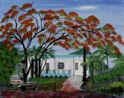 Puerto Rico Painting Posters - Pretty in Red Poster by Gloria E Barreto-Rodriguez