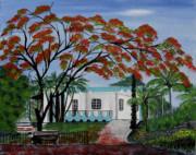 Pretty In Red Print by Gloria E Barreto-Rodriguez
