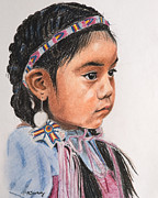 American Pastels Framed Prints - Pretty Native American Girl Framed Print by Kate Sumners