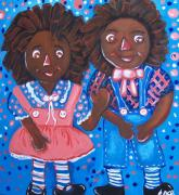 African-american Reliefs Framed Prints - Pretty Peter and Penny Framed Print by Clara Spencer