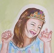 Missing Child Painting Metal Prints - Pretty Princess Metal Print by Anne Cameron Cutri