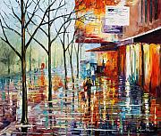 Canal Street Paintings - Pretty Rain by Leonid Afremov