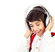 Preteen Framed Prints - Pretty teen boy enjoying music Framed Print by Anna Omelchenko