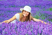 Lilac Prints - Pretty woman on lavender field Print by Anna Omelchenko