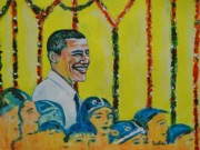 President Obama Prints - Prez Obama with Children Print by Usha Shantharam