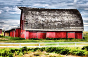 Barns Mixed Media Acrylic Prints - Priaire Barn  Acrylic Print by Elaine Manley