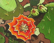 Arboretum Tapestries Textiles Originals - Prickly Pear Bloom by Sandy Tracey