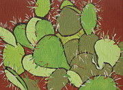 Spines Paintings - Prickly Pear Cactus by Sandy Tracey