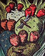 Linoleum Mixed Media Posters - Prickly Pear Poster by Candy Mayer