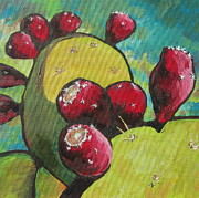 Arboretum Tapestries Textiles Originals - Prickly Pear Fruit by Sandy Tracey
