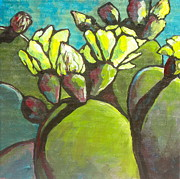 Arboretum Tapestries Textiles Originals - Prickly Pear in Bloom by Sandy Tracey